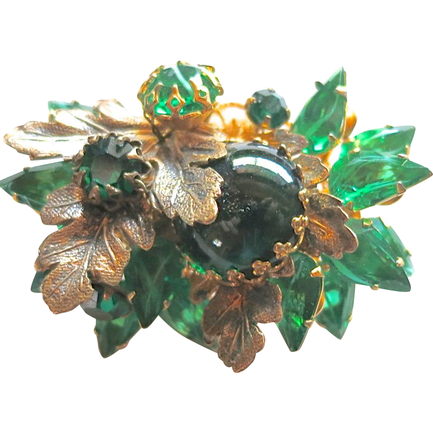 DeMario Flawed Emerald Green Rhinestone Floral Brooch