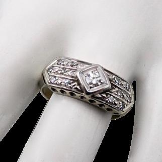 Art Deco 14K WG Diamond Ring Size 6