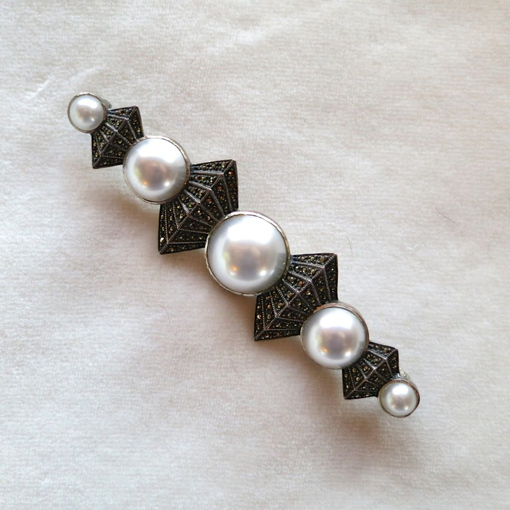 Judith Jack Art Deco Style Sterling Marcasite Faux Mabe Pearl Brooch