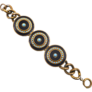 Vintage Art Deco Brass Blue Black Enamel Bracelet