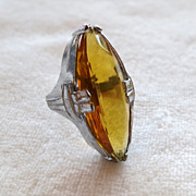Art Deco Topaz Glass Pinkie Ring