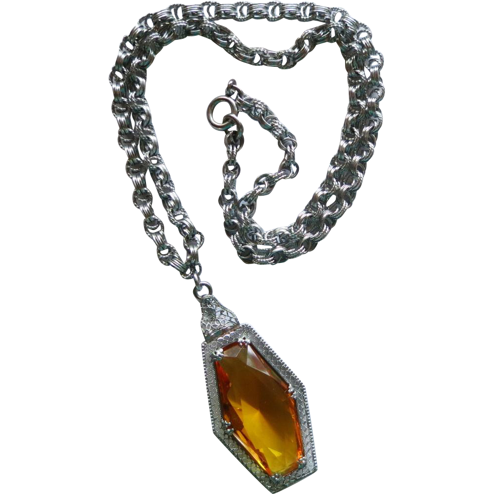 Art Deco Chromium and Topaz Glass Pendant Necklace
