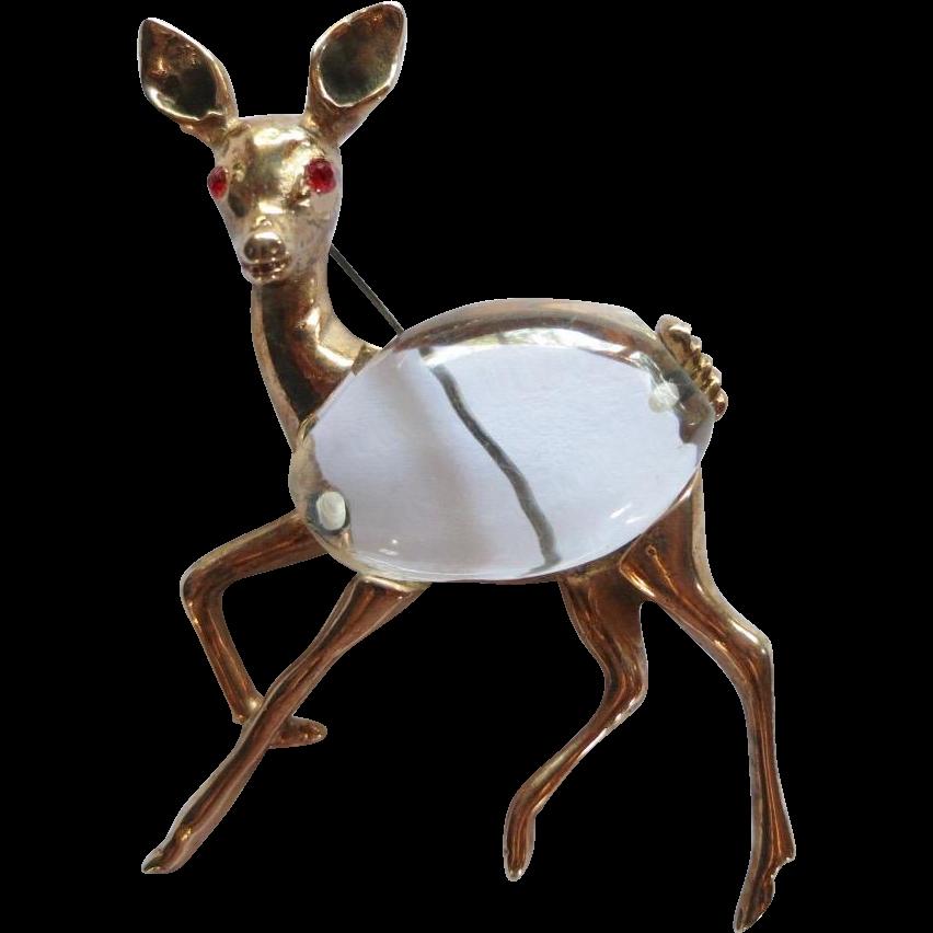 Vintage Sterling Vermeil Deer Jelly Belly Brooch Book Piece!