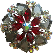 DeLizza & Elster Juliana Red & Black Diamond Pie Shaped Rhinestone Brooch