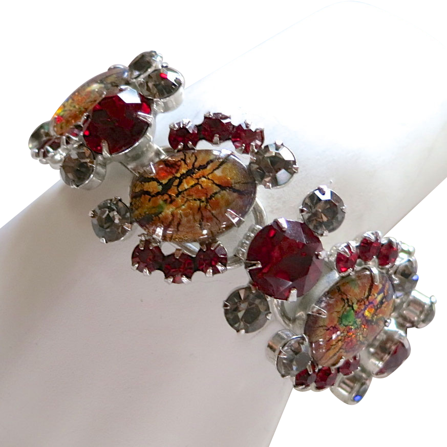 D&E Juliana cat's eye, red, and smoky grey rhinestone bracelet BOOK PIECE!