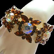Vintage DeLizza & Elster Juliana Wide Topaz & AB Rhinestone Link Bracelet