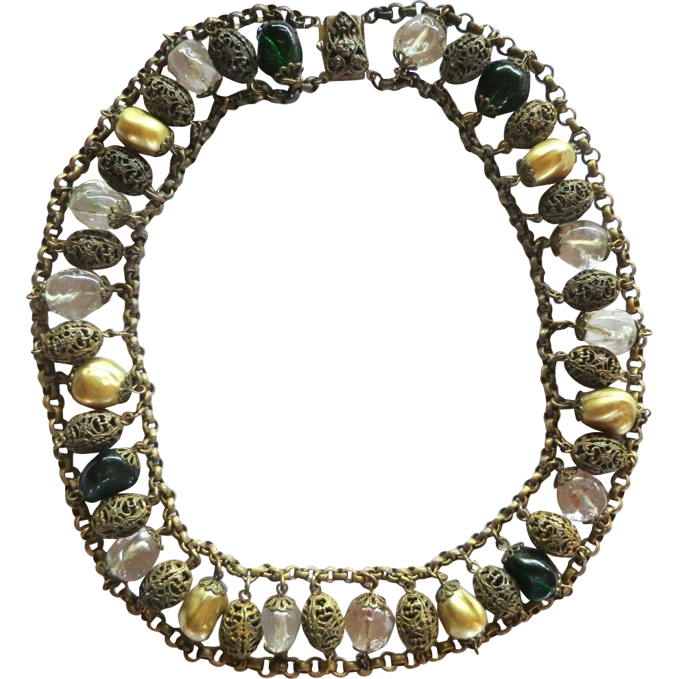 Early Miriam Haskell Art Glass Metal Beads Necklace 1930s Book Piece