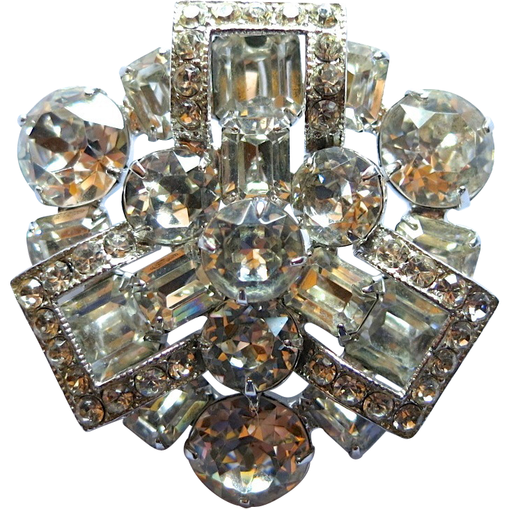 Brilliant Eisenberg Clear Rhinestone Brooch