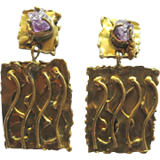 Vintage Ernandes Brutalist Brass Amethyst Clip Earrings
