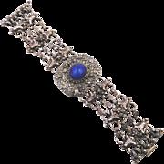 Vintage Etruscan Style Sterling Lapis Bracelet