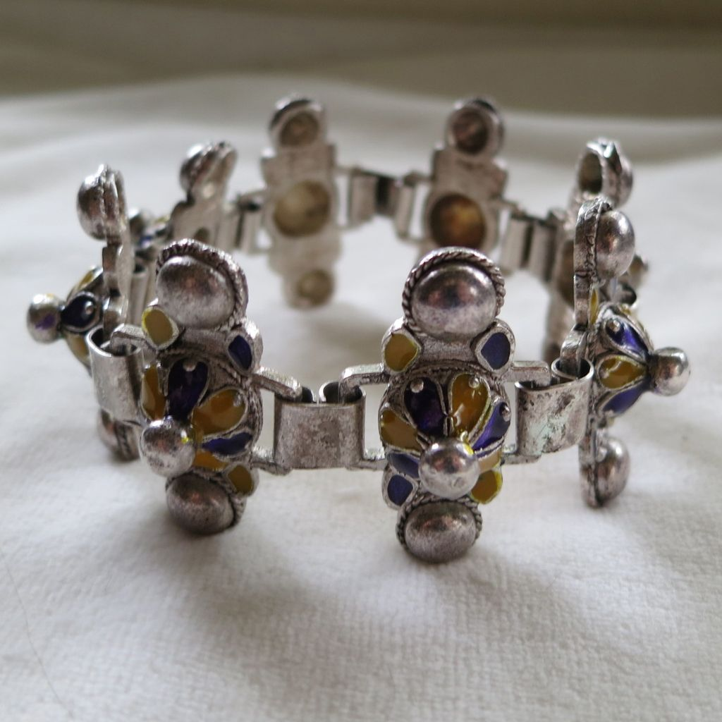 Etruscan style enamel link bracelet