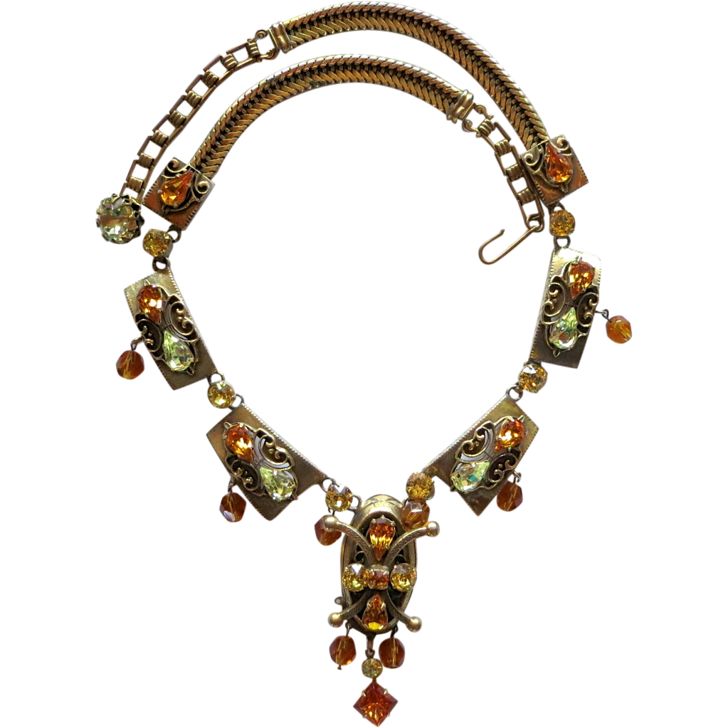 Etruscan Style Vintage Topaz & Jonquil Rhinestone Necklace