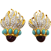 Vintage 1993 E. Taylor Eternal Flame Rhinestone Faux Ruby Turquoise Earrings