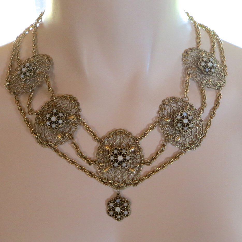 Vintage Faux Opal Festoon Necklace