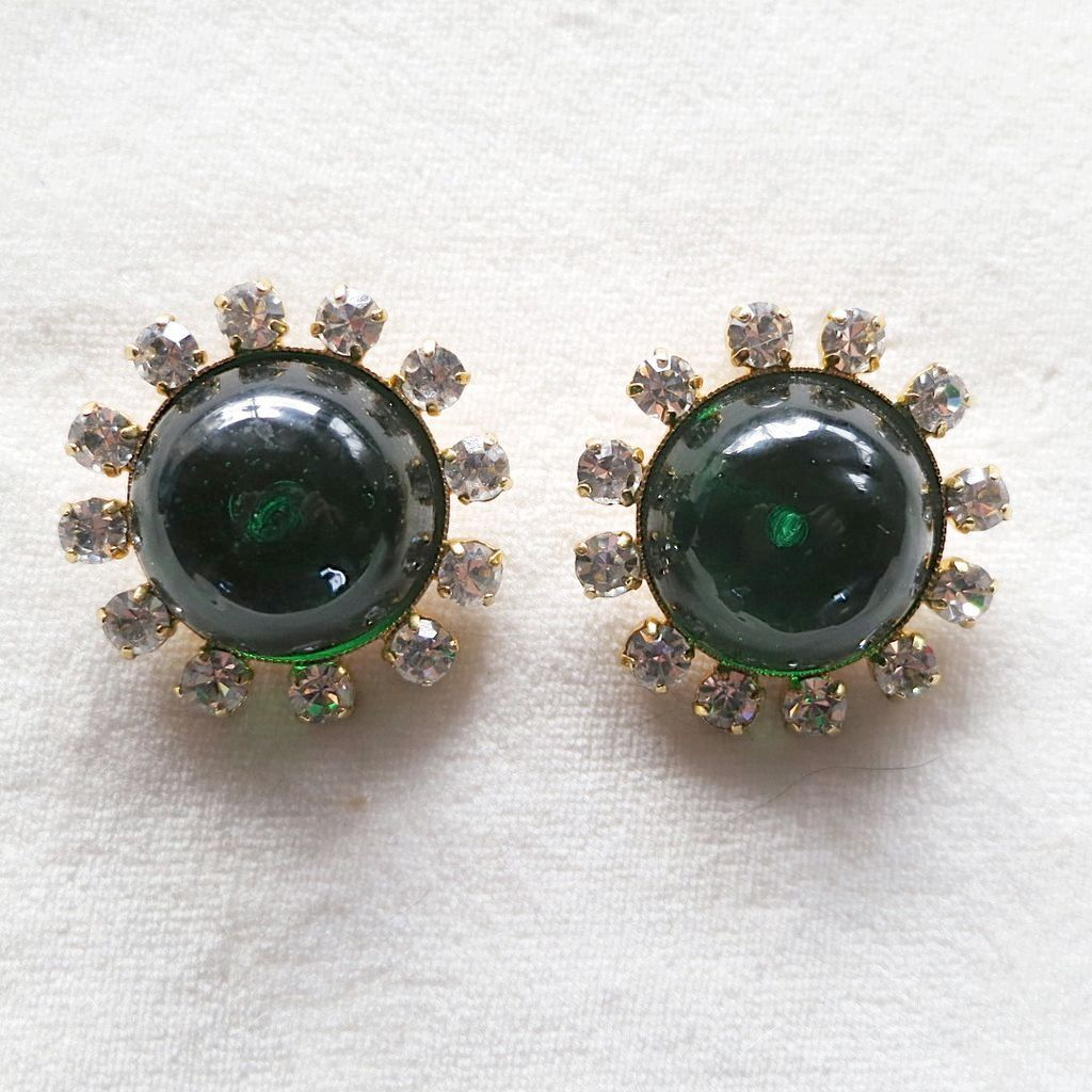 French Philippe Ferrandis Green Poured Glass Rhinestone Earrings