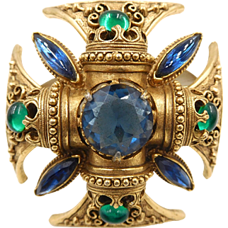 Vintage Florenza Blue Green Rhinestone Maltese Cross Pin Pendant