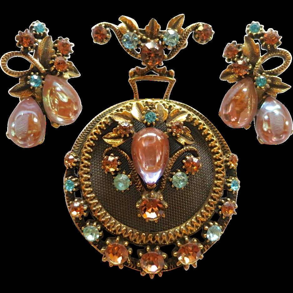 Vintage Florenza Saphiret Sappharine Rhinestone Brooch Set