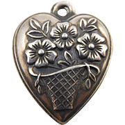 "RESERVED!!!  Sterling Flower Basket Puffy Heart Charm ""Wallace"""