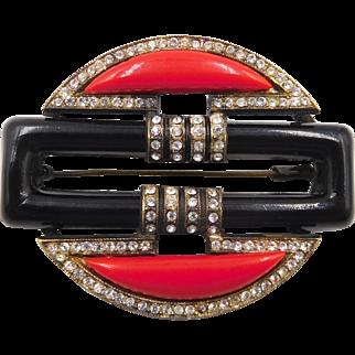 Vintage Art Deco French Red Black Glass Rhinestone Brooch