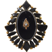 Antique Victorian French Jet Black Glass Mourning Pendant Rolled Gold