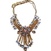 Vintage Francis Winter Couture Rhinestone Dangles Necklace Made in France