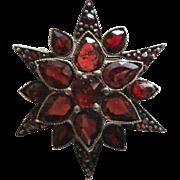 Vintage Bohemian Garnet Star Brooch