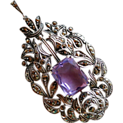 Germany Sterling 935 Marcasite & Faux Amethyst Pendant