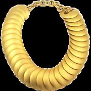 Vintage Chunky Matte Gold Tone Discs Necklace 1980s