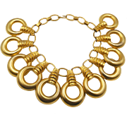 Huge Chunky Modernist Style Golden Rings Bib Collar Necklace