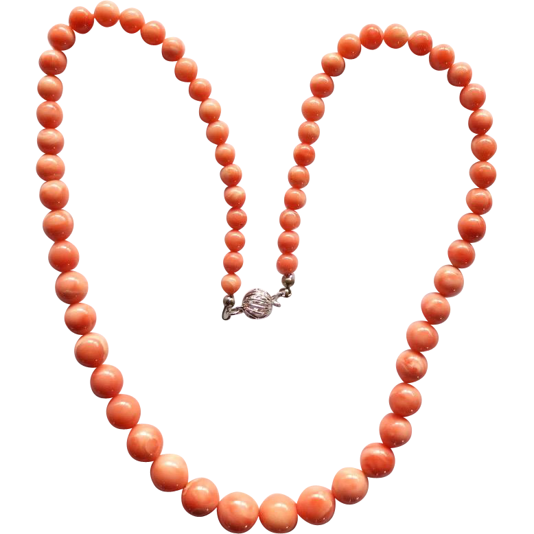Vintage Salmon Coral Graduated Beads Necklace
