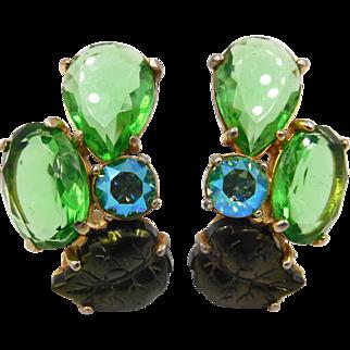 Vintage Schiaparelli Green Rhinestone Dark Green Glass Leaf Clip Earrings