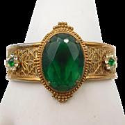 Vintage Victorian Revival Green Rhinestone Hinged Bracelet