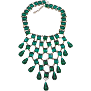 Vintage Emerald Green Rhinestone Glass Dangles Bib Necklace