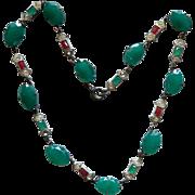 Art Deco Green and Carnelian Glass Rhinestone Necklace