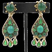 Vintage Brass Green Glass Chandelier Clip Earrings