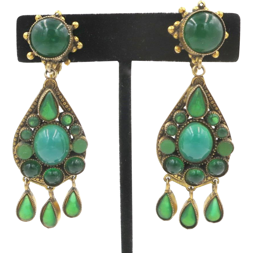 Vintage Brass Green Glass Chandelier Clip Earrings