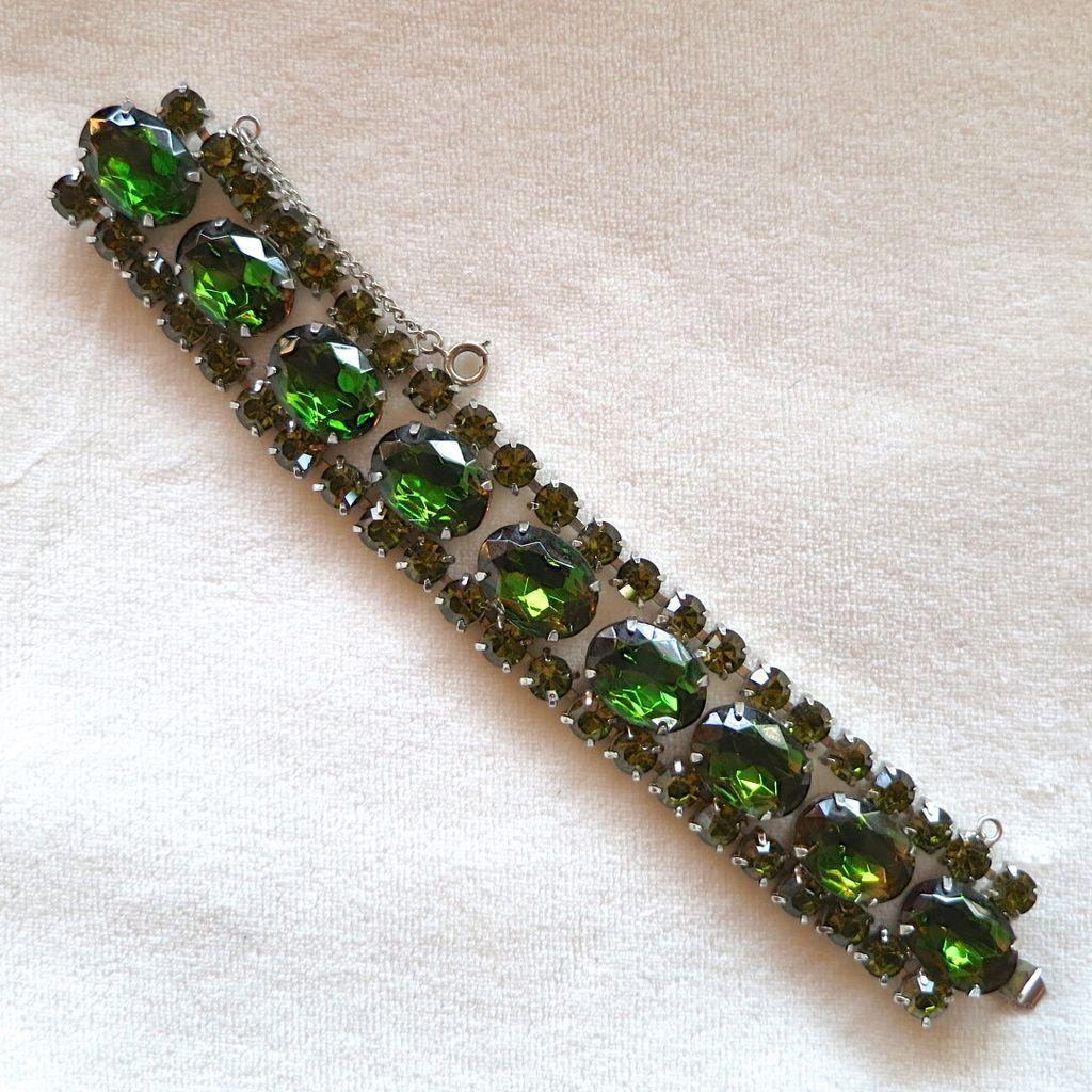 Green Olivine Topaz Rhinestone Bracelet