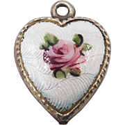 1940s Sterling Guilloche Enamel Rose Puffy Heart Charm