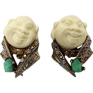Vintage HAR Chinaman Faux Ivory Rhinestone Clip Earrings