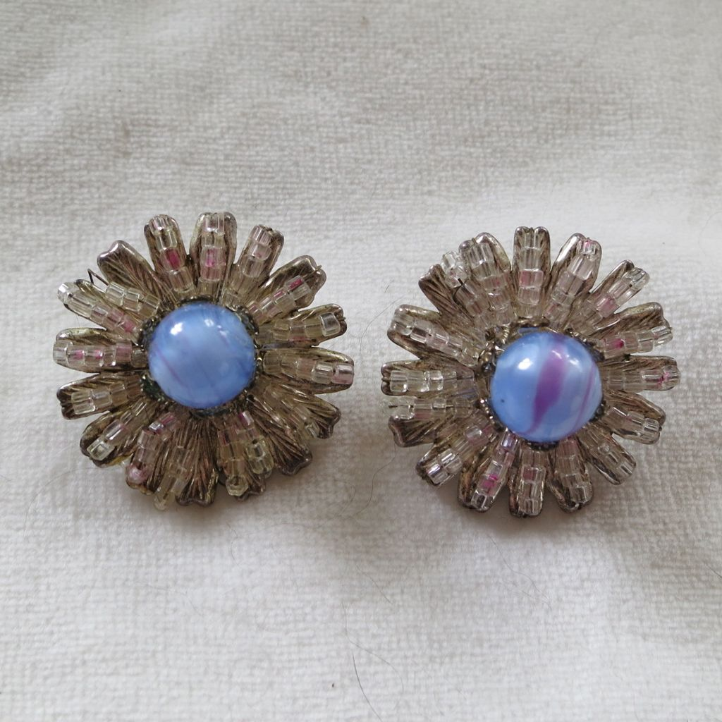 Miriam Haskell blue art glass bead clip earrings