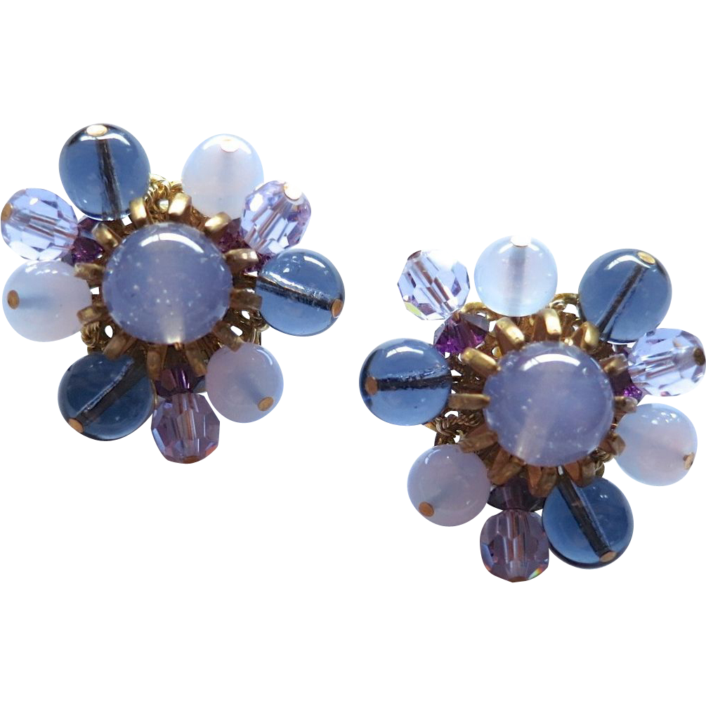 Miriam Haskell Pale Purple and Dark Blue Glass Bead Clip Earrings