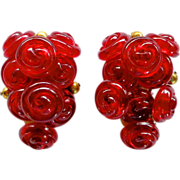 Rare Miriam Haskell Red Rose Buttons Fur Clips