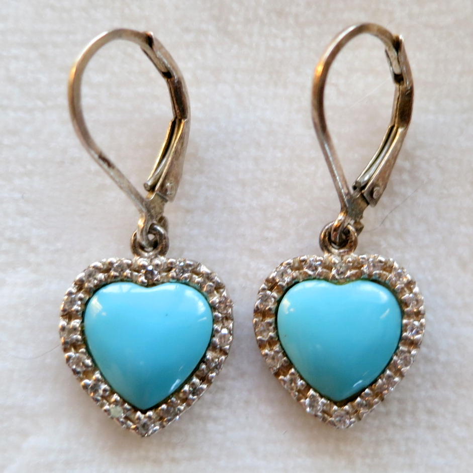 Sterling silver faux turquoise & rhinestone heart earrings
