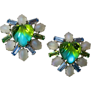 Blue Green Heart Shaped Rhinestone Clip Earrings