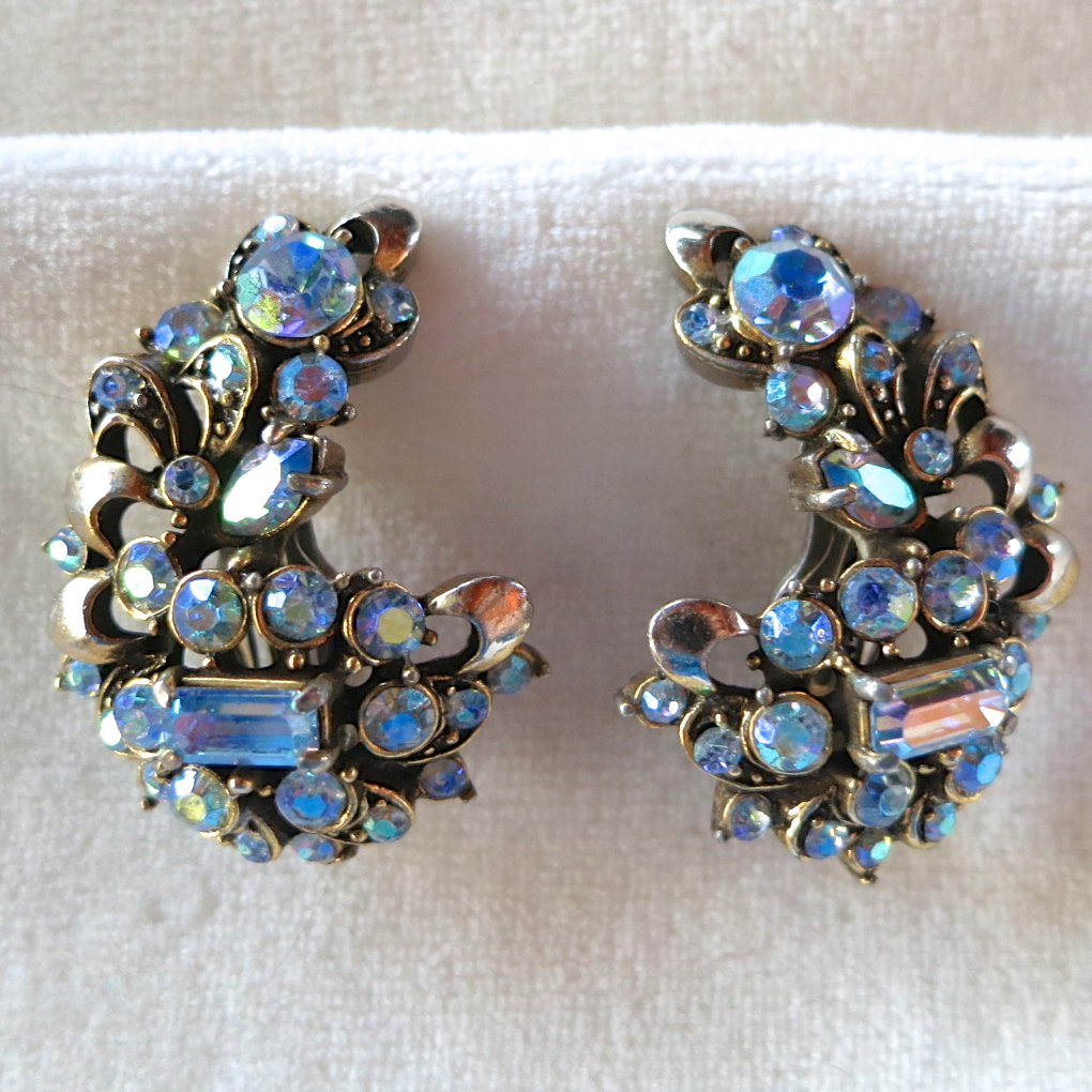 Hollycraft blue Ab rhinestone clip earrings 1957