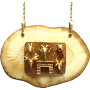 Vintage 10K Gold Hunting Trophy Charm Pendant Necklace