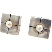 Vintage Lisa Jenks Modernist Sterling Giftbox Freshwater Pearl Earrings