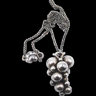 Georg Jensen Sterling Silver Moonlight Grapes Pendant Necklace