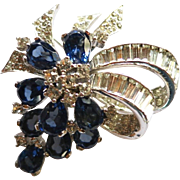 Vintage Jomaz Montana Blue Rhinestone Brooch
