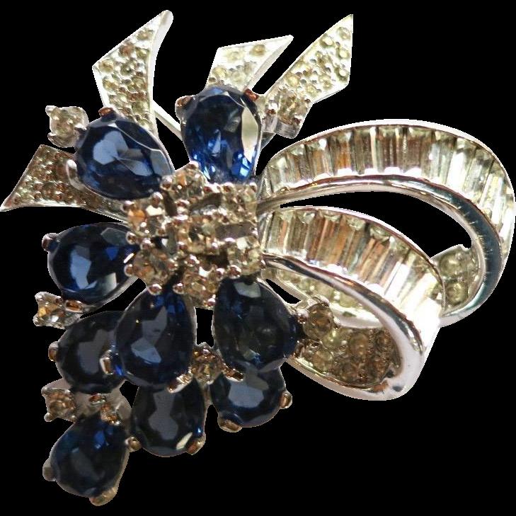 RESERVED!!!   Vintage Jomaz Montana Blue Rhinestone Brooch